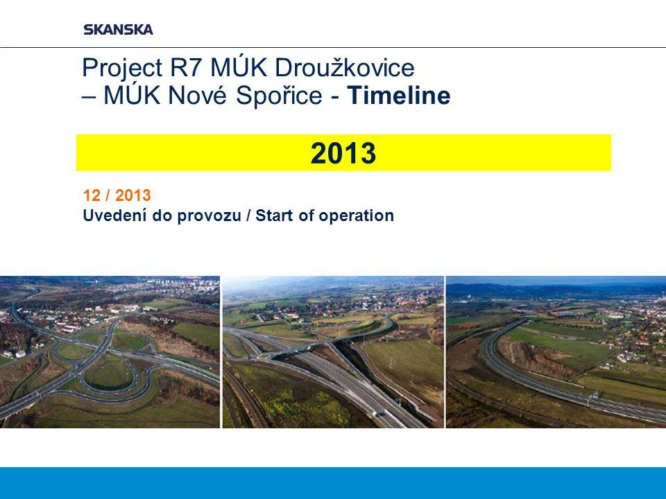2013 Project R7 MÚK Droužkovice – MÚK Nové Spořice - Timeline 12 / 2013 Uvedení do provozu / Start of operation