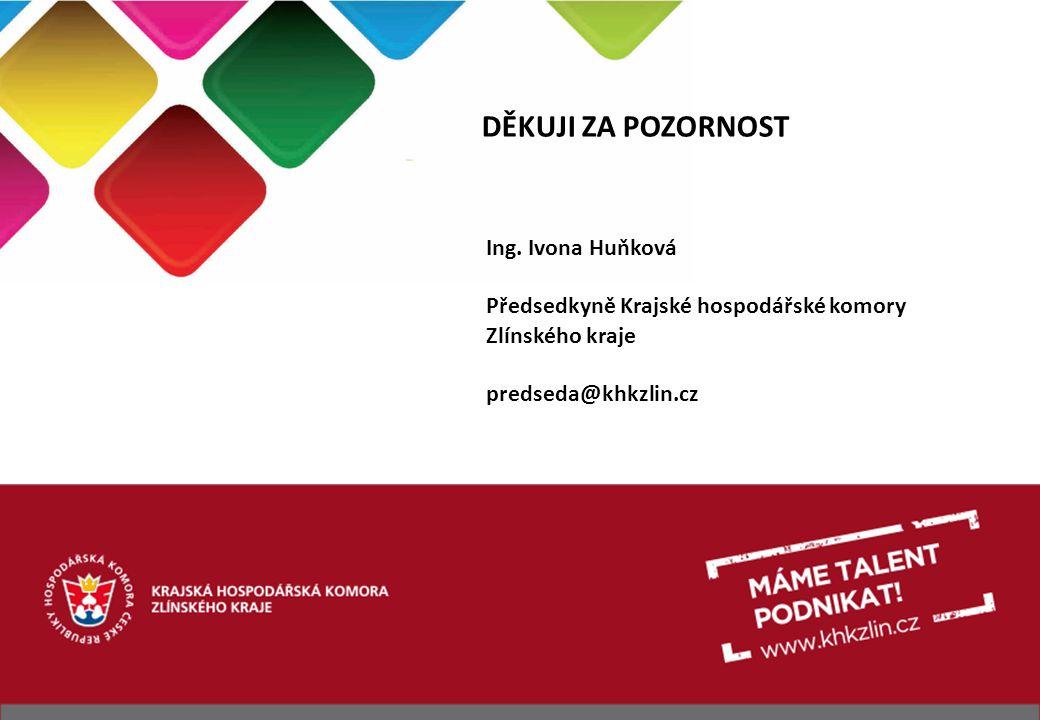 DĚKUJI ZA POZORNOST Ing. Ivona Huňková Předsedkyně Krajské hospodářské komory Zlínského kraje predseda@khkzlin.cz