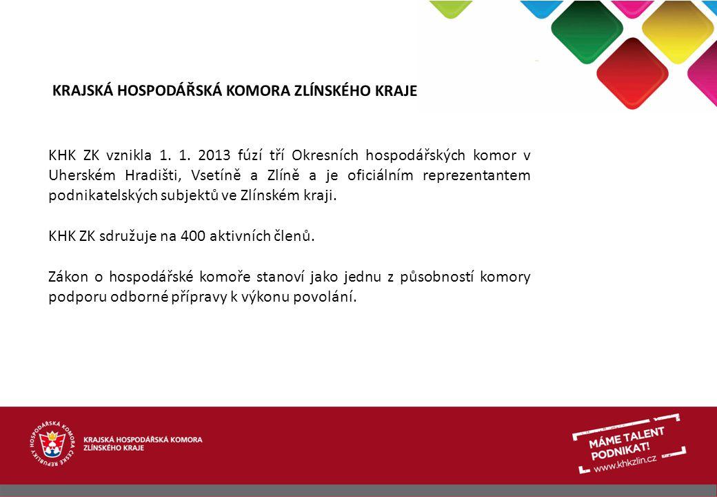 KRAJSKÁ HOSPODÁŘSKÁ KOMORA ZLÍNSKÉHO KRAJE KHK ZK vznikla 1. 1. 2013 fúzí tří Okresních hospodářských komor v Uherském Hradišti, Vsetíně a Zlíně a je