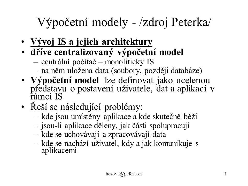 hesova@pefczu.cz1 Výpočetní modely - /zdroj Peterka/ Vývoj IS a jejich architektury dříve centralizovaný výpočetní model –centrální počítač = monolitický IS –na něm uložena data (soubory, později databáze) Výpočetní model lze definovat jako ucelenou představu o postavení uživatele, dat a aplikací v rámci IS Řeší se následující problémy: –kde jsou umístěny aplikace a kde skutečně běží –jsou-li aplikace děleny, jak části spolupracují –kde se uchovávají a zpracovávají data –kde se nachází uživatel, kdy a jak komunikuje s aplikacemi