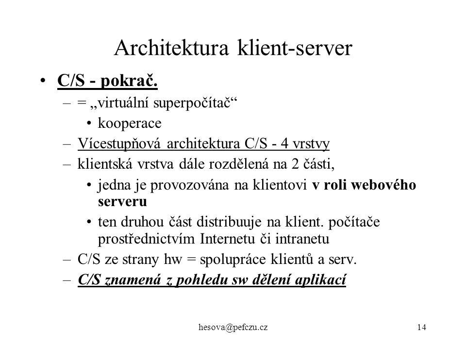 hesova@pefczu.cz14 Architektura klient-server C/S - pokrač.