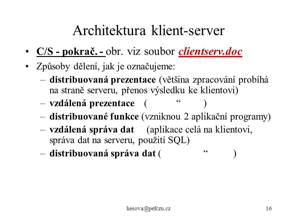 hesova@pefczu.cz16 Architektura klient-server C/S - pokrač.