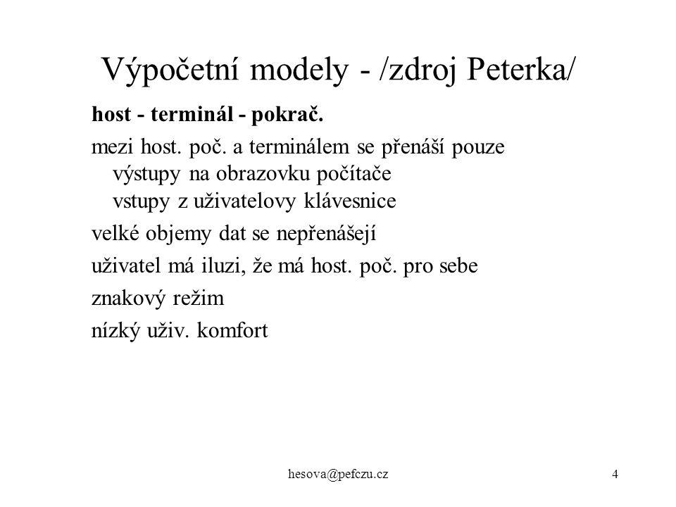 hesova@pefczu.cz4 Výpočetní modely - /zdroj Peterka/ host - terminál - pokrač.