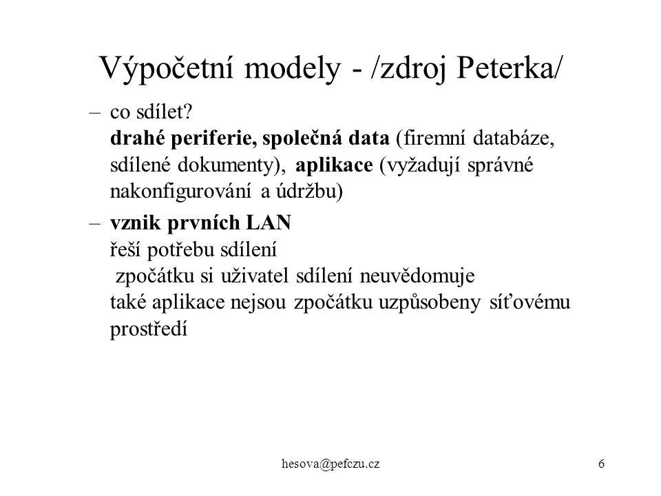 hesova@pefczu.cz6 Výpočetní modely - /zdroj Peterka/ –co sdílet.