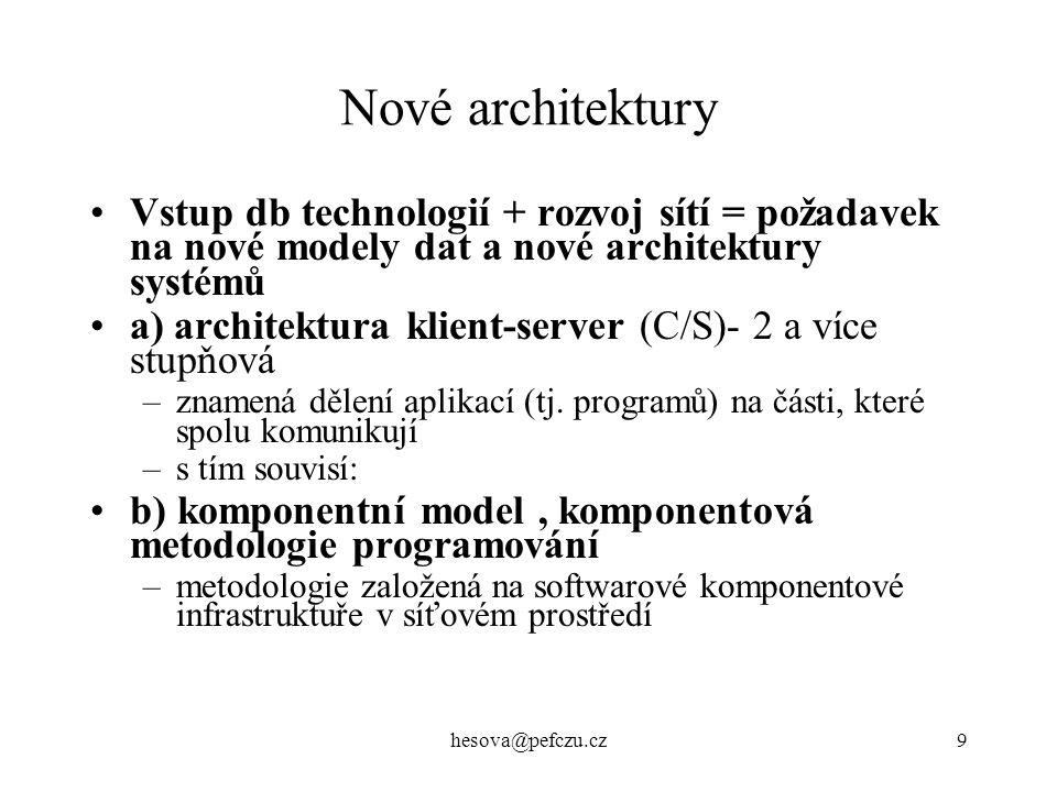 hesova@pefczu.cz10 Nové architektury c) OO model –komponenty aplikace jsou též objekty distribuované objekty = systémově nezávislé sw entity, z nichž lze sestavit aplikaci jsou kdekoliv na síti, mají rozhraní (=tabulka metod, operací a jejich parametrů) klienti volají metody z jejich rozhraní, tj.