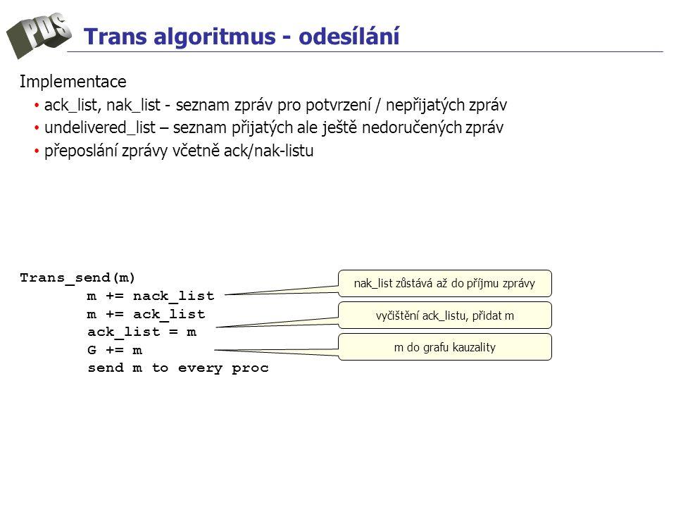 Trans algoritmus - odesílání Implementace ack_list, nak_list - seznam zpráv pro potvrzení / nepřijatých zpráv undelivered_list – seznam přijatých ale ještě nedoručených zpráv přeposlání zprávy včetně ack/nak-listu Trans_send(m) m += nack_list m += ack_list ack_list = m G += m send m to every proc nak_list zůstává až do příjmu zprávy vyčištění ack_listu, přidat m m do grafu kauzality