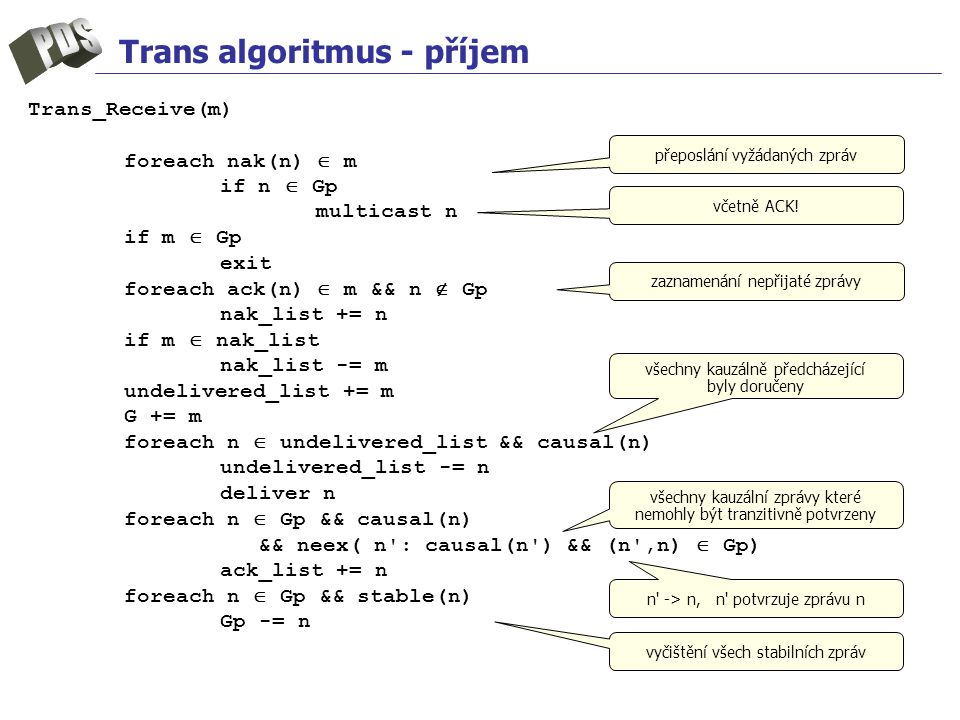 Trans algoritmus - příjem Trans_Receive(m) foreach nak(n)  m if n  Gp multicast n if m  Gp exit foreach ack(n)  m && n  Gp nak_list += n if m  nak_list nak_list -= m undelivered_list += m G += m foreach n  undelivered_list && causal(n) undelivered_list -= n deliver n foreach n  Gp && causal(n) && neex( n : causal(n ) && (n ,n)  Gp) ack_list += n foreach n  Gp && stable(n) Gp -= n včetně ACK.