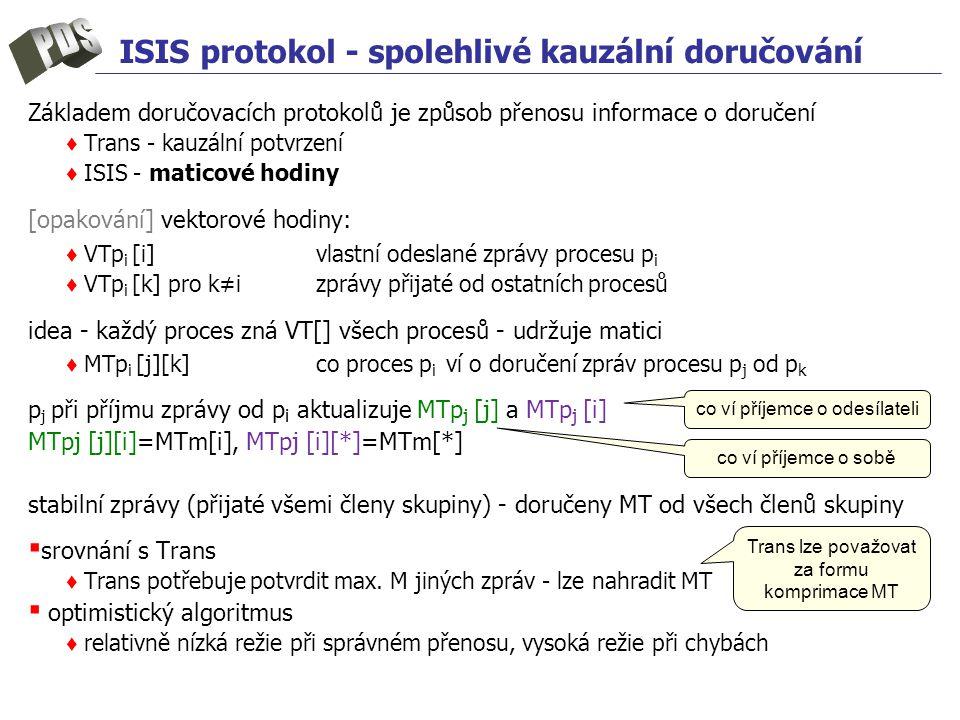 ISIS protokol - spolehlivé kauzální doručování Základem doručovacích protokolů je způsob přenosu informace o doručení ♦ Trans - kauzální potvrzení ♦ ISIS - maticové hodiny [opakování] vektorové hodiny: ♦ VTp i [i]vlastní odeslané zprávy procesu p i ♦ VTp i [k] pro k≠izprávy přijaté od ostatních procesů idea - každý proces zná VT[] všech procesů - udržuje matici ♦ MTp i [j][k]co proces p i ví o doručení zpráv procesu p j od p k p j při příjmu zprávy od p i aktualizuje MTp j [j] a MTp j [i] MTpj [j][i]=MTm[i], MTpj [i][*]=MTm[*] stabilní zprávy (přijaté všemi členy skupiny) - doručeny MT od všech členů skupiny ▪ srovnání s Trans ♦ Trans potřebuje potvrdit max.