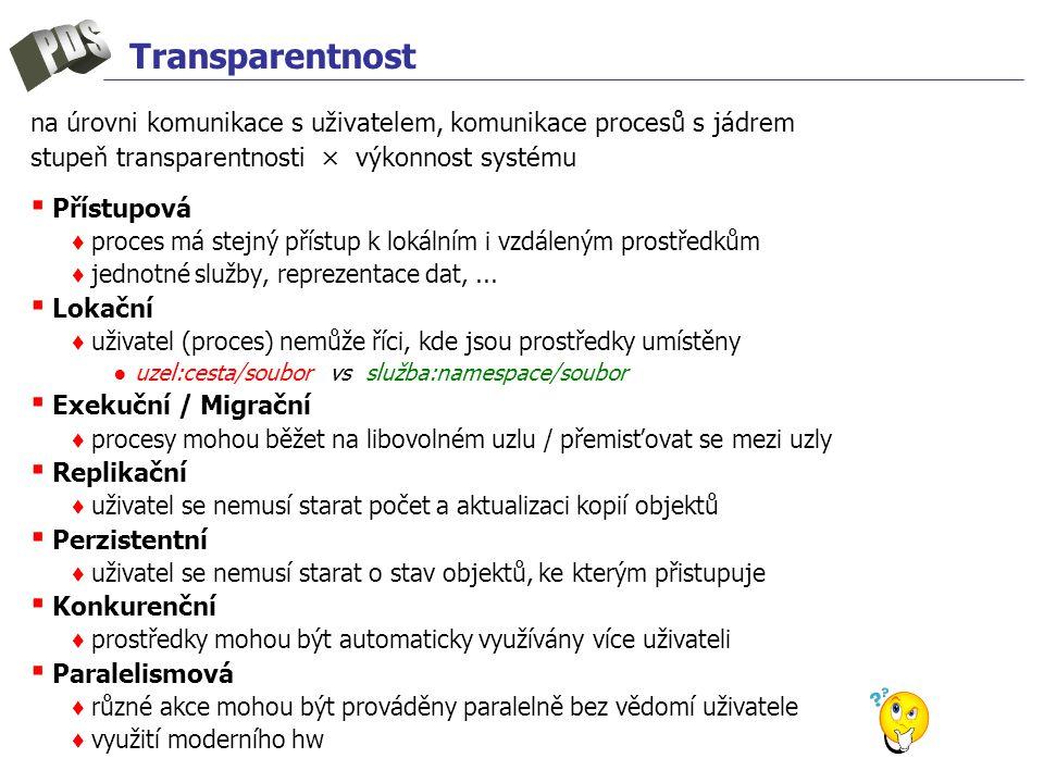 Transparentnost na úrovni komunikace s uživatelem, komunikace procesů s jádrem stupeň transparentnosti × výkonnost systému ▪ Přístupová ♦ proces má stejný přístup k lokálním i vzdáleným prostředkům ♦ jednotné služby, reprezentace dat,...
