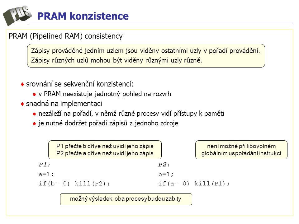 PRAM konzistence PRAM (Pipelined RAM) consistency ♦ srovnání se sekvenční konzistencí: ● v PRAM neexistuje jednotný pohled na rozvrh ♦ snadná na implementaci ● nezáleží na pořadí, v němž různé procesy vidí přístupy k paměti ● je nutné dodržet pořadí zápisů z jednoho zdroje P1:P2: a=1;b=1; if(b==0) kill(P2);if(a==0) kill(P1); Zápisy prováděné jedním uzlem jsou viděny ostatními uzly v pořadí provádění.
