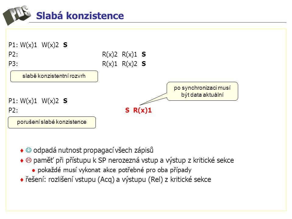 Slabá konzistence P1: W(x)1 W(x)2 S P2: R(x)2 R(x)1 S P3: R(x)1 R(x)2 S P1: W(x)1 W(x)2 S P2:S R(x)1 ♦ odpadá nutnost propagací všech zápisů ♦  paměť při přístupu k SP nerozezná vstup a výstup z kritické sekce ● pokaždé musí vykonat akce potřebné pro oba případy ♦ řešení: rozlišení vstupu (Acq) a výstupu (Rel) z kritické sekce slabě konzistentní rozvrh porušení slabé konzistence po synchronizaci musí být data aktuální
