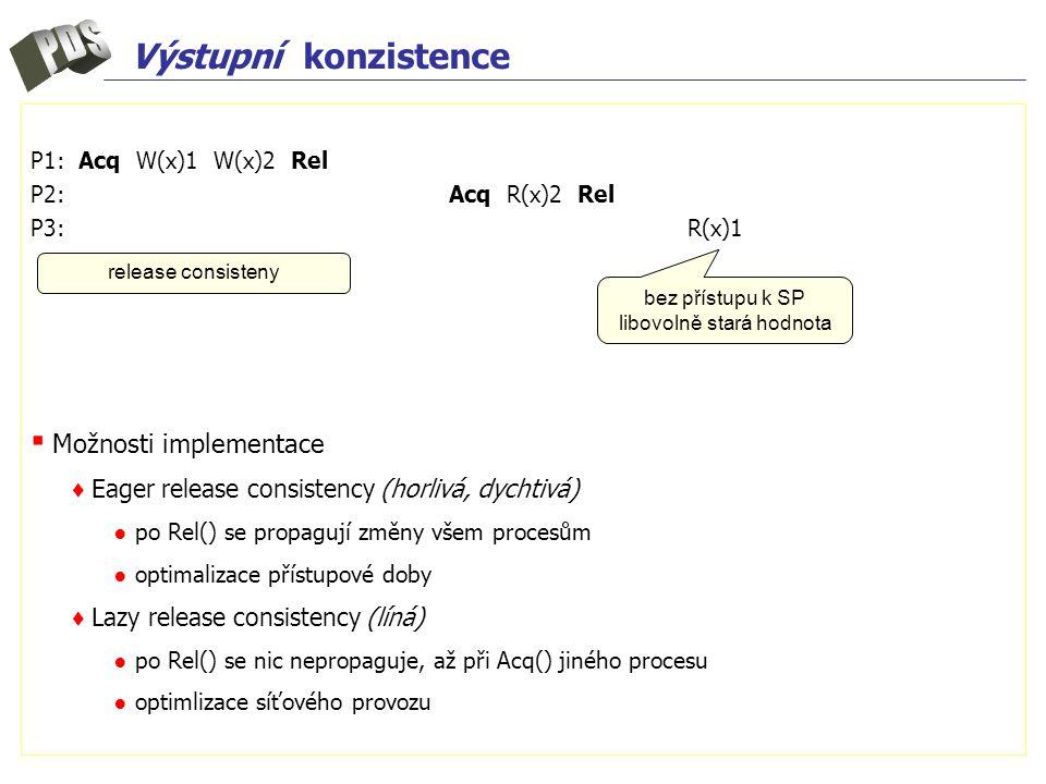 Výstupní konzistence P1: Acq W(x)1 W(x)2 Rel P2:Acq R(x)2 Rel P3: R(x)1 ▪ Možnosti implementace ♦ Eager release consistency (horlivá, dychtivá) ● po Rel() se propagují změny všem procesům ● optimalizace přístupové doby ♦ Lazy release consistency (líná) ● po Rel() se nic nepropaguje, až při Acq() jiného procesu ● optimlizace síťového provozu release consisteny bez přístupu k SP libovolně stará hodnota