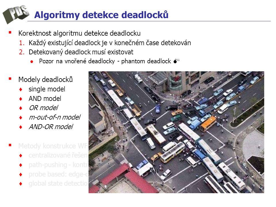 Algoritmy detekce deadlocků ▪ Korektnost algoritmu detekce deadlocku 1.Každý existující deadlock je v konečném čase detekován 2.Detekovaný deadlock musí existovat ●Pozor na vnořené deadlocky - phantom deadlock  ▪ Modely deadlocků ♦ single model ♦ AND model ♦ OR model ♦ m-out-of-n model ♦ AND-OR model ▪ Metody konstrukce WFG ♦ centralizované řešení, hierarchické ♦ path-pushing - kontrakce WFG ♦ probe based: edge-chasing, diffusing computation ♦ global state detection