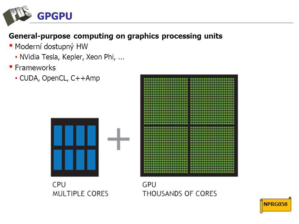 GPGPU General-purpose computing on graphics processing units Moderní dostupný HW NVidia Tesla, Kepler, Xeon Phi,...
