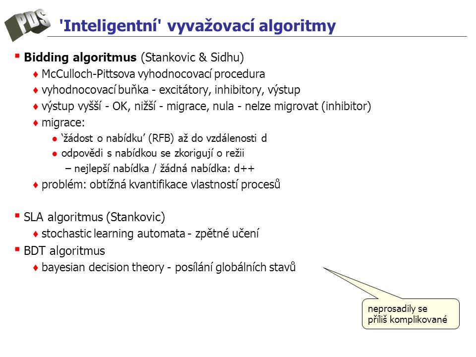 Inteligentní vyvažovací algoritmy ▪ Bidding algoritmus (Stankovic & Sidhu) ♦ McCulloch-Pittsova vyhodnocovací procedura ♦ vyhodnocovací buňka - excitátory, inhibitory, výstup ♦ výstup vyšší - OK, nižší - migrace, nula - nelze migrovat (inhibitor) ♦ migrace: ● 'žádost o nabídku' (RFB) až do vzdálenosti d ● odpovědi s nabídkou se zkorigují o režii –nejlepší nabídka / žádná nabídka: d++ ♦ problém: obtížná kvantifikace vlastností procesů ▪ SLA algoritmus (Stankovic) ♦ stochastic learning automata - zpětné učení ▪ BDT algoritmus ♦ bayesian decision theory - posílání globálních stavů neprosadily se příliš komplikované