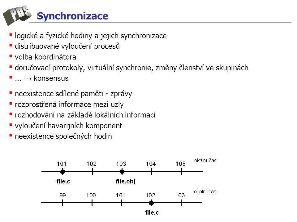Synchronizace ▪ logické a fyzické hodiny a jejich synchronizace ▪ distribuované vyloučení procesů ▪ volba koordinátora ▪ doručovací protokoly, virtuální synchronie, změny členství ve skupinách ▪...