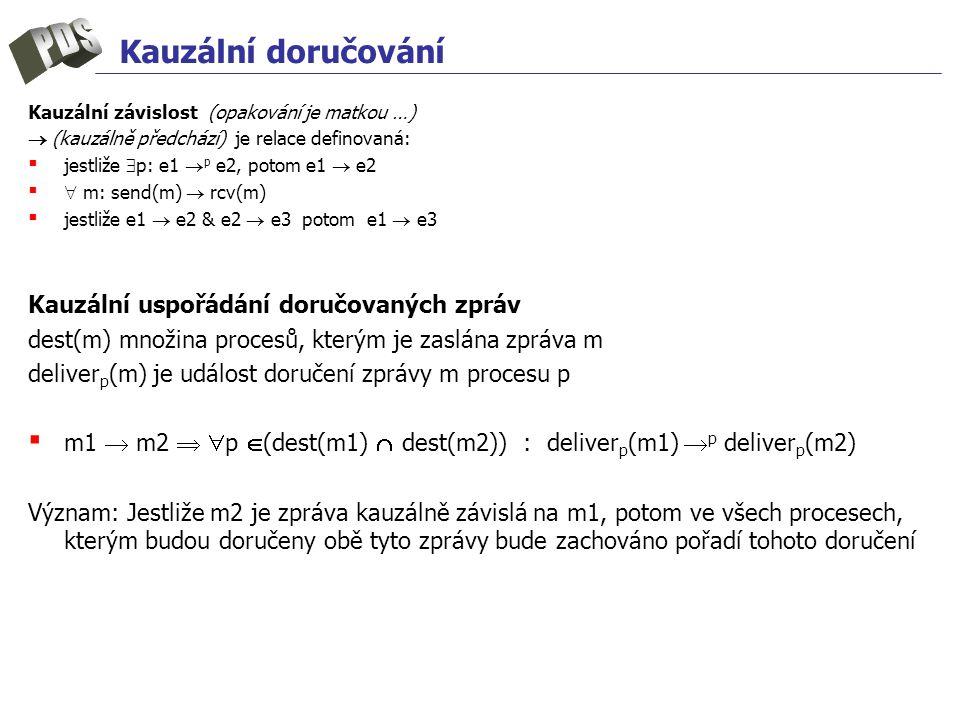 Kauzální doručování Kauzální závislost (opakování je matkou …)  (kauzálně předchází) je relace definovaná: ▪ jestliže  p: e1  p e2, potom e1  e2 ▪  m: send(m)  rcv(m) ▪ jestliže e1  e2 & e2  e3 potom e1  e3 Kauzální uspořádání doručovaných zpráv dest(m) množina procesů, kterým je zaslána zpráva m deliver p (m) je událost doručení zprávy m procesu p ▪ m1  m2   p  (dest(m1)  dest(m2)) : deliver p (m1)  p deliver p (m2) Význam: Jestliže m2 je zpráva kauzálně závislá na m1, potom ve všech procesech, kterým budou doručeny obě tyto zprávy bude zachováno pořadí tohoto doručení