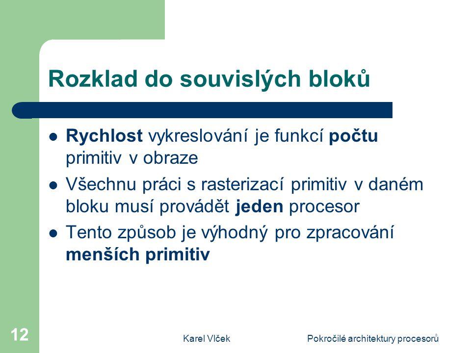 Karel VlčekPokročilé architektury procesorů 12 Rozklad do souvislých bloků Rychlost vykreslování je funkcí počtu primitiv v obraze Všechnu práci s rasterizací primitiv v daném bloku musí provádět jeden procesor Tento způsob je výhodný pro zpracování menších primitiv