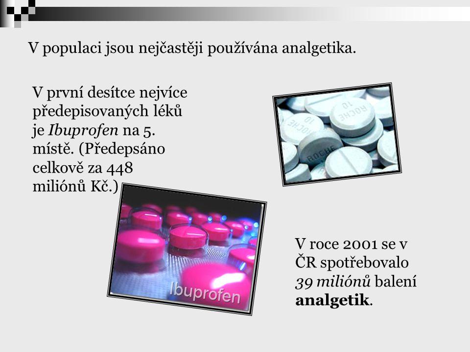 V populaci jsou nejčastěji používána analgetika. V roce 2001 se v ČR spotřebovalo 39 miliónů balení analgetik. V první desítce nejvíce předepisovaných