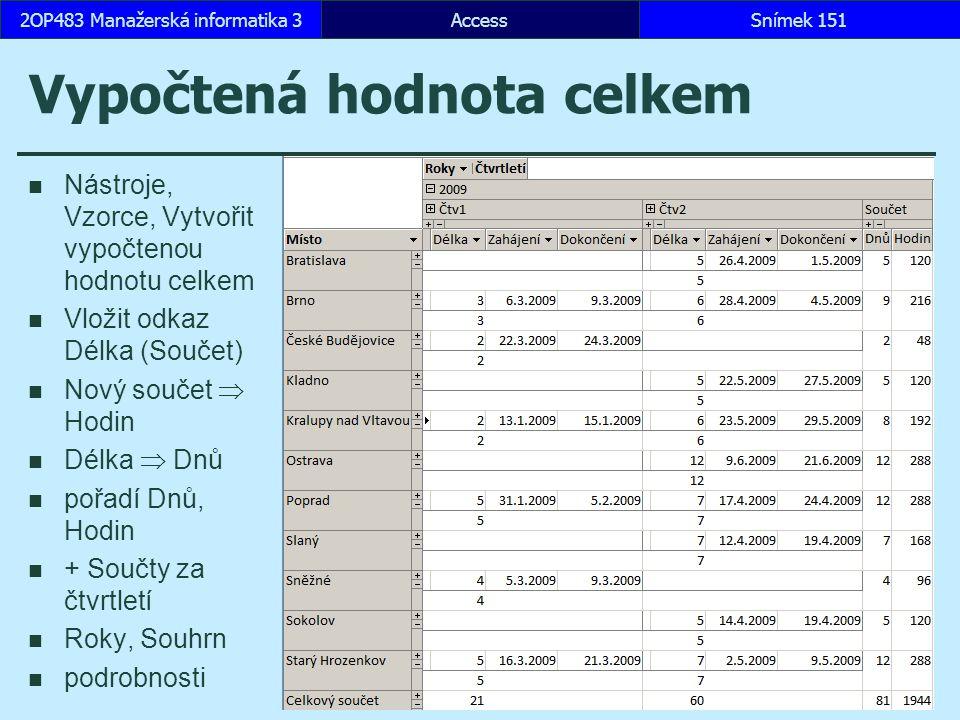 AccessSnímek 1512OP483 Manažerská informatika 3 Vypočtená hodnota celkem Nástroje, Vzorce, Vytvořit vypočtenou hodnotu celkem Vložit odkaz Délka (Souč