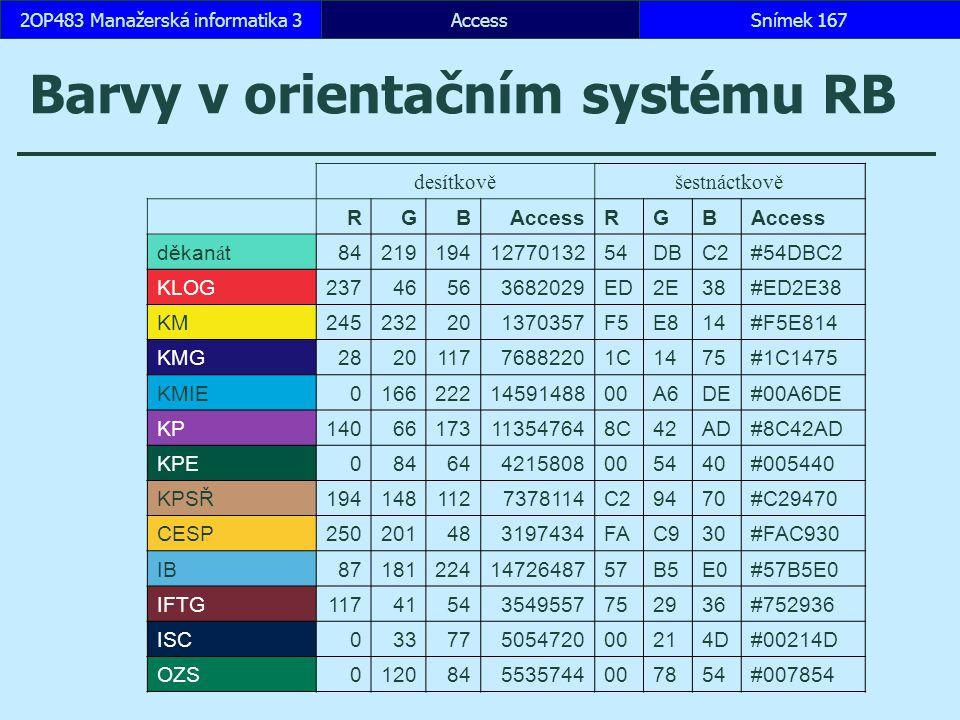 AccessSnímek 1672OP483 Manažerská informatika 3 Barvy v orientačním systému RB desítkověšestnáctkově RGBAccessRGB děkan á t842191941277013254DBC2#54DB
