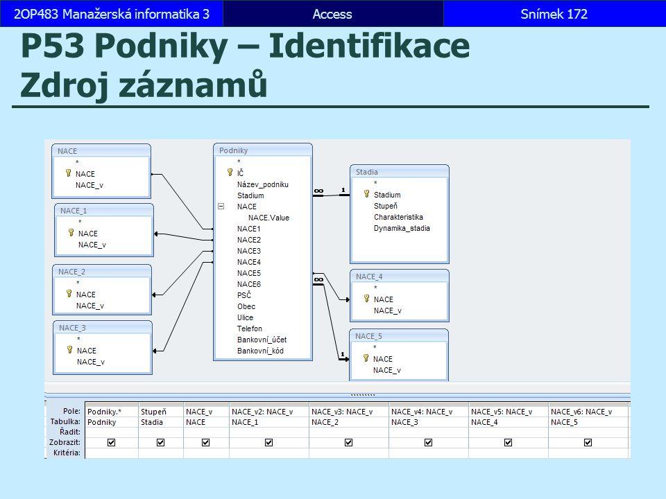 AccessSnímek 1722OP483 Manažerská informatika 3 P53 Podniky – Identifikace Zdroj záznamů