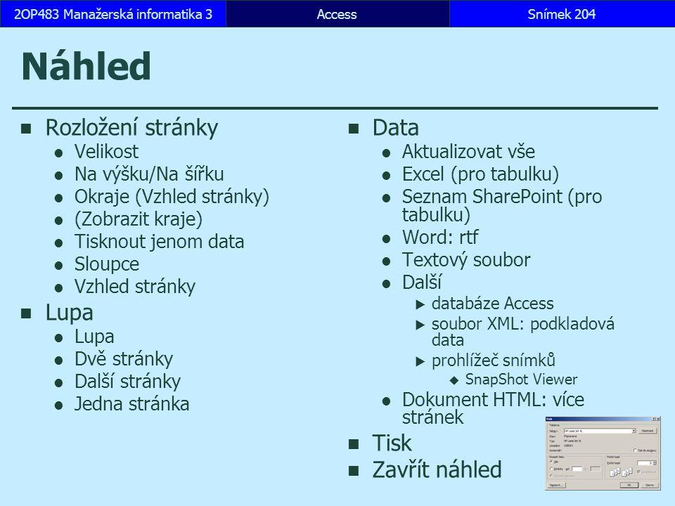 AccessSnímek 2042OP483 Manažerská informatika 3 Náhled Rozložení stránky Velikost Na výšku/Na šířku Okraje (Vzhled stránky) (Zobrazit kraje) Tisknout