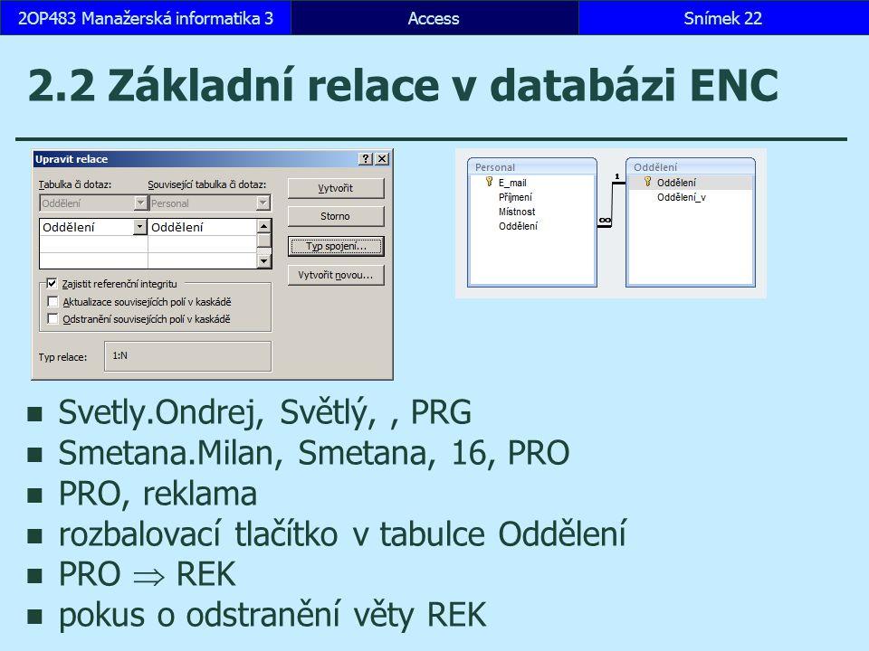 AccessSnímek 222OP483 Manažerská informatika 3 2.2 Základní relace v databázi ENC Svetly.Ondrej, Světlý,, PRG Smetana.Milan, Smetana, 16, PRO PRO, rek