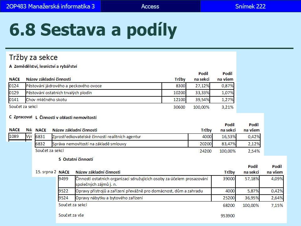 AccessSnímek 2222OP483 Manažerská informatika 3 6.8 Sestava a podíly