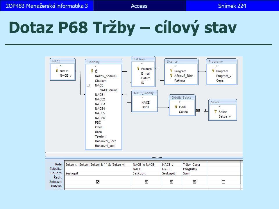 AccessSnímek 2242OP483 Manažerská informatika 3 Dotaz P68 Tržby – cílový stav
