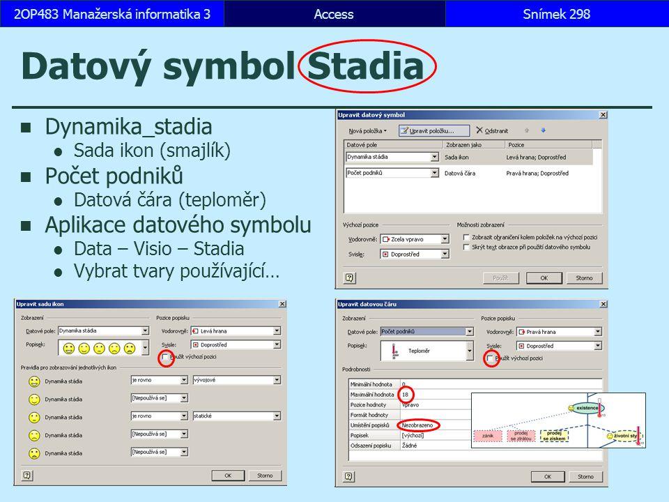 AccessSnímek 2982OP483 Manažerská informatika 3 Datový symbol Stadia Dynamika_stadia Sada ikon (smajlík) Počet podniků Datová čára (teploměr) Aplikace