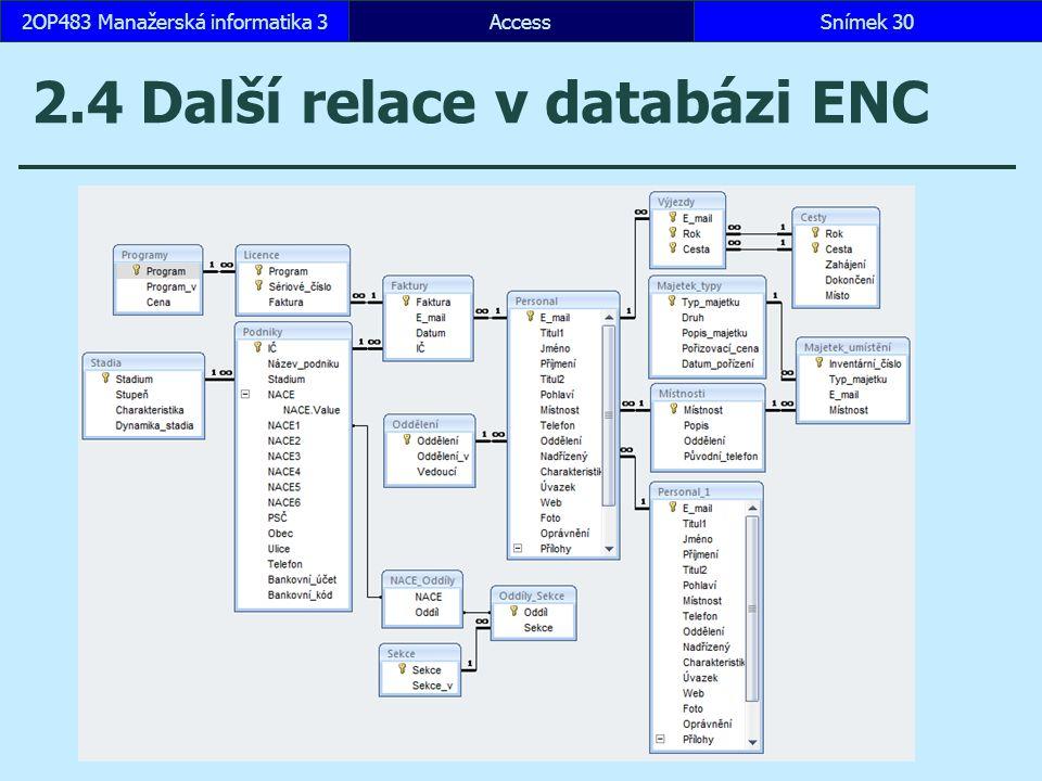 AccessSnímek 302OP483 Manažerská informatika 3 2.4 Další relace v databázi ENC