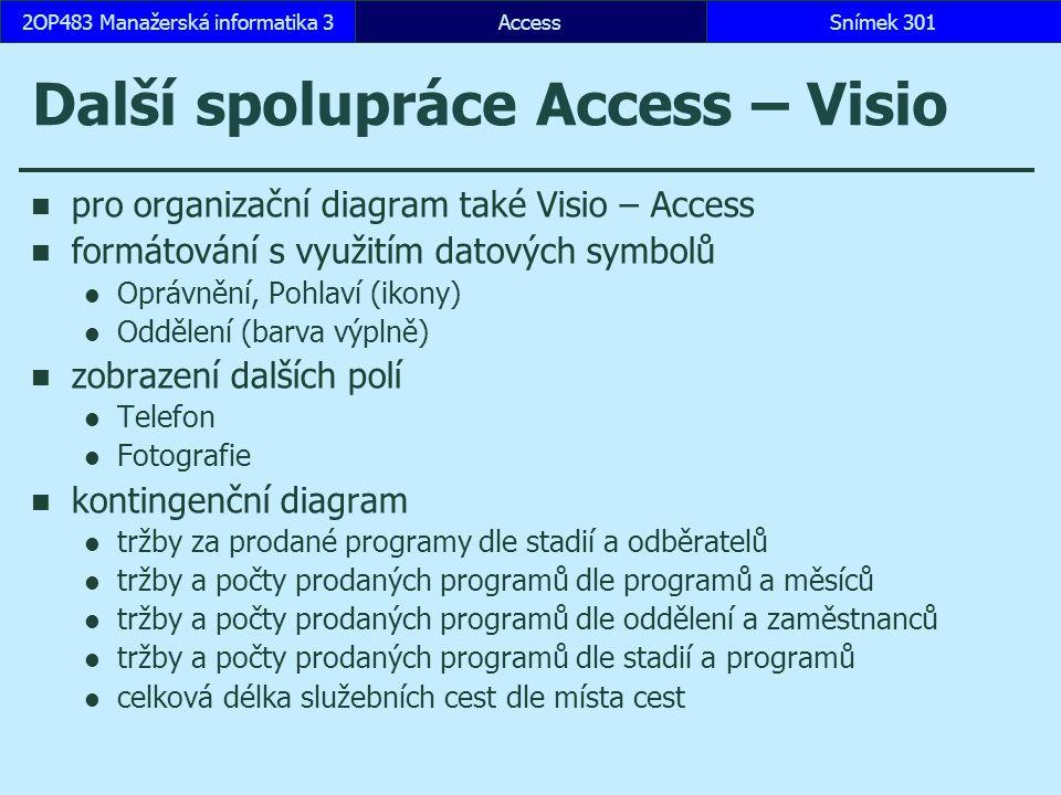 AccessSnímek 3012OP483 Manažerská informatika 3 Další spolupráce Access – Visio pro organizační diagram také Visio – Access formátování s využitím dat