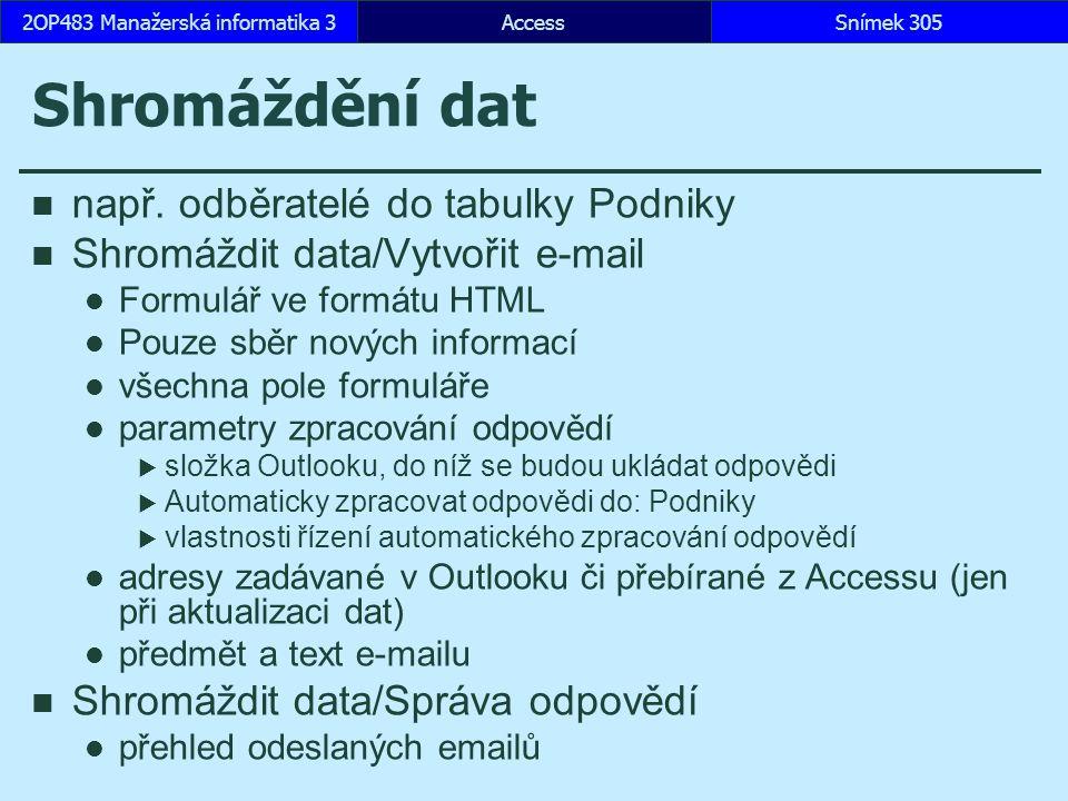 AccessSnímek 3052OP483 Manažerská informatika 3 Shromáždění dat např. odběratelé do tabulky Podniky Shromáždit data/Vytvořit e-mail Formulář ve formát