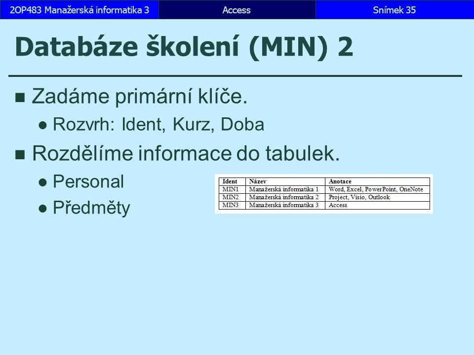 AccessSnímek 352OP483 Manažerská informatika 3 Databáze školení (MIN) 2 Zadáme primární klíče. Rozvrh: Ident, Kurz, Doba Rozdělíme informace do tabule