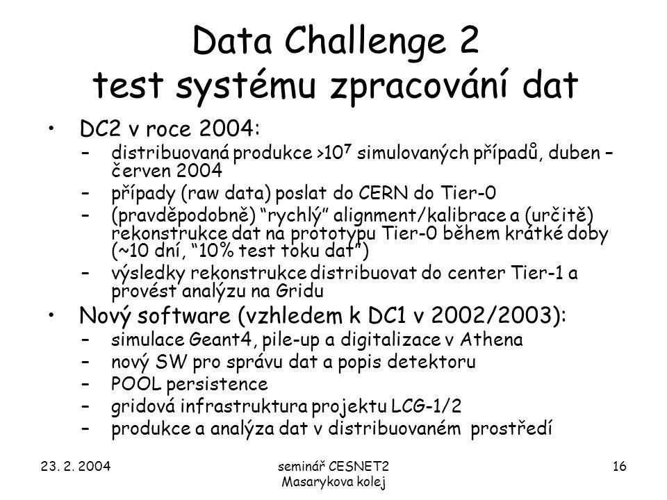 23. 2. 2004seminář CESNET2 Masarykova kolej 16 Data Challenge 2 test systému zpracování dat DC2 v roce 2004: –distribuovaná produkce >10 7 simulovanýc