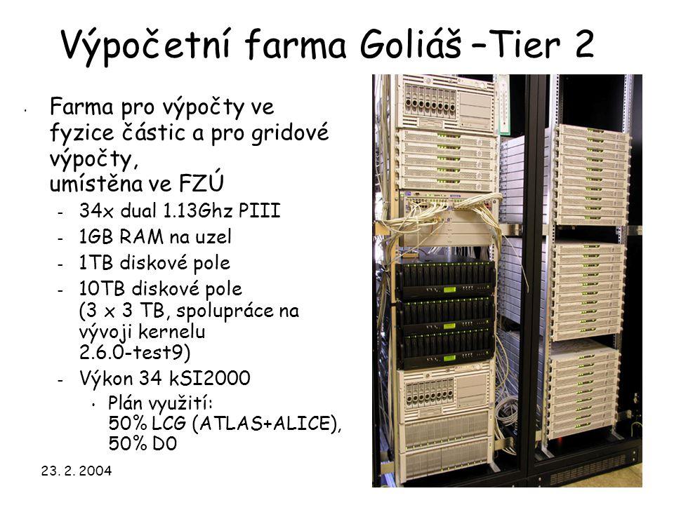23. 2. 200423 Výpočetní farma Goliáš –Tier 2 Farma pro výpočty ve fyzice částic a pro gridové výpočty, umístěna ve FZÚ – 34x dual 1.13Ghz PIII – 1GB R