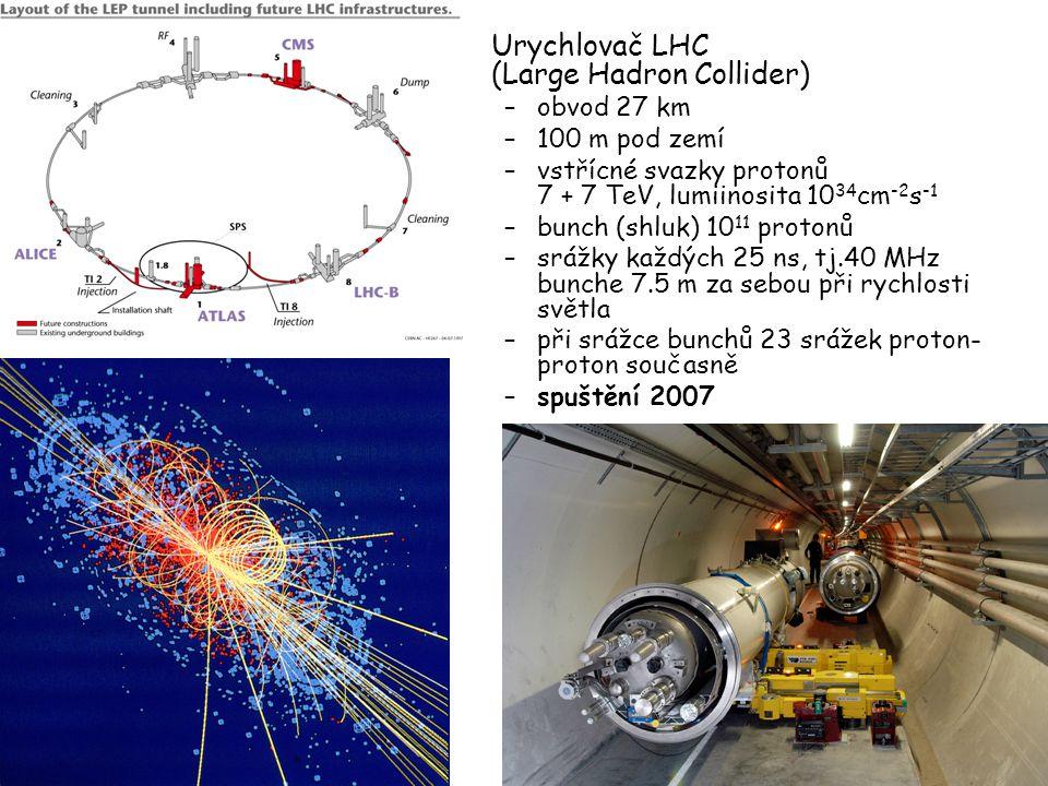 23. 2. 20045 Urychlovač LHC (Large Hadron Collider) –obvod 27 km –100 m pod zemí –vstřícné svazky protonů 7 + 7 TeV, lumiinosita 10 34 cm -2 s -1 –bun