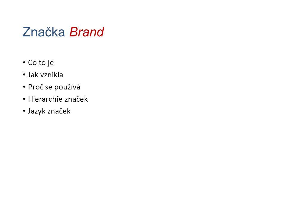 Značka Brand Co to je Jak vznikla Proč se používá Hierarchie značek Jazyk značek