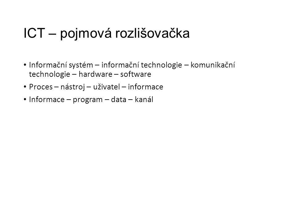 ICT – pojmová rozlišovačka Informační systém – informační technologie – komunikační technologie – hardware – software Proces – nástroj – uživatel – informace Informace – program – data – kanál