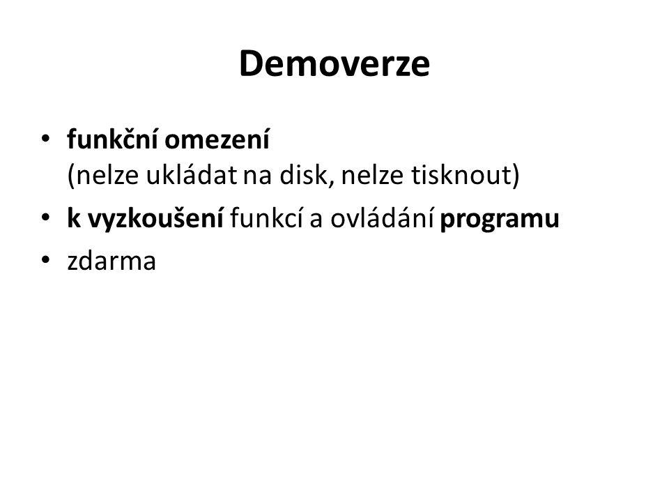 Demoverze funkční omezení (nelze ukládat na disk, nelze tisknout) k vyzkoušení funkcí a ovládání programu zdarma
