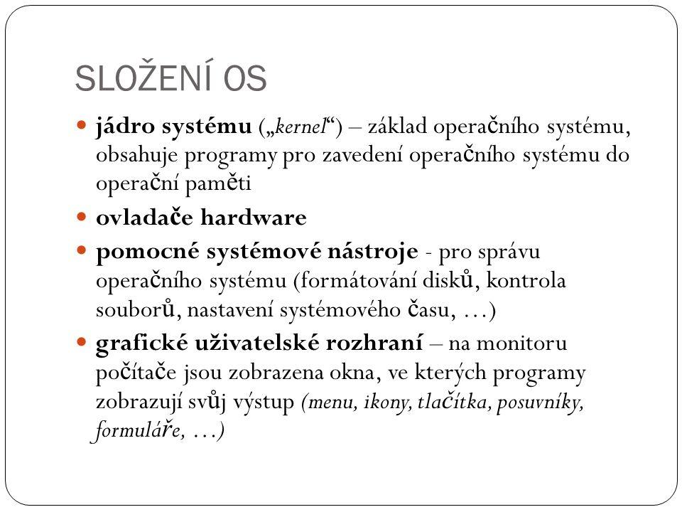 """SLOŽENÍ OS jádro systému (""""kernel"""") – základ opera č ního systému, obsahuje programy pro zavedení opera č ního systému do opera č ní pam ě ti ovlada č"""