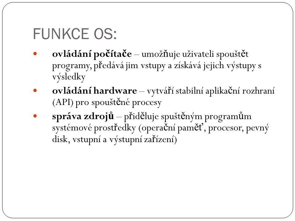 FUNKCE OS: ovládání po č íta č e – umož ň uje uživateli spoušt ě t programy, p ř edává jim vstupy a získává jejich výstupy s výsledky ovládání hardwar