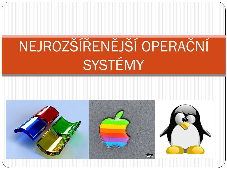 Microsoft Windows (r ů zné verze) – ur č ený pro osobní po č íta č e s procesory Intel 16bitové první opera č ní systém MS-DOS (v roce 1985, jeho nadstavby verze 1.0, 2.0, 3.0) jednoprogramový, schopný spustit pouze jednu úlohu, používat informace pouze z jednoho vstupního za ř ízení obsahoval rozhraní oken, startovací zvuk, malování, hru Solitare Windows 95 (obsahoval už nabídku Start, plochu a kompletní zvuky), Windows 98, Windows ME (Millenium Edition – v roce 2000) – jsou to také nadstavby DOS, ale DOSové prost ř edí je skryté 32bitové založené na 32bitovém jád ř e NT (New Technology) Windows NT (1996, p ř evzal vzhled z Windows 95) Windows XP Windows Vista (2007) 64bitové Windows XP (vyšel v roce 2005, i 32bitová verze) Windows 7 (vyšel v roce 2009, i 32bitová verze)