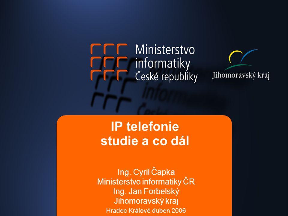 IP telefonie studie a co dál Ing.Cyril Čapka Ministerstvo informatiky ČR Ing.