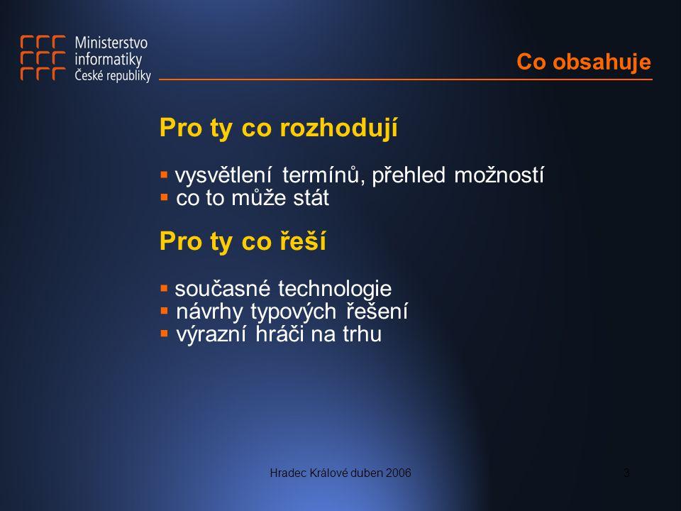 Hradec Králové duben 20063 Co obsahuje Pro ty co rozhodují  vysvětlení termínů, přehled možností  co to může stát Pro ty co řeší  současné technologie  návrhy typových řešení  výrazní hráči na trhu