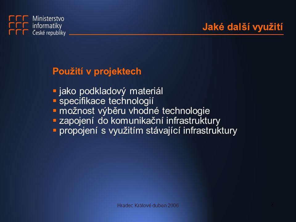 Hradec Králové duben 20064 Jaké další využití Použití v projektech  jako podkladový materiál  specifikace technologií  možnost výběru vhodné technologie  zapojení do komunikační infrastruktury  propojení s využitím stávající infrastruktury