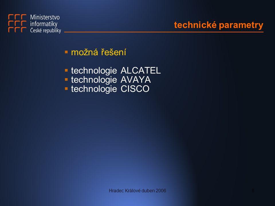Hradec Králové duben 20068 technické parametry  možná řešení  technologie ALCATEL  technologie AVAYA  technologie CISCO