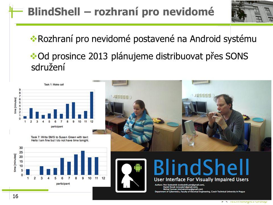 16 BlindShell – rozhraní pro nevidomé  Rozhraní pro nevidomé postavené na Android systému  Od prosince 2013 plánujeme distribuovat přes SONS sdružen