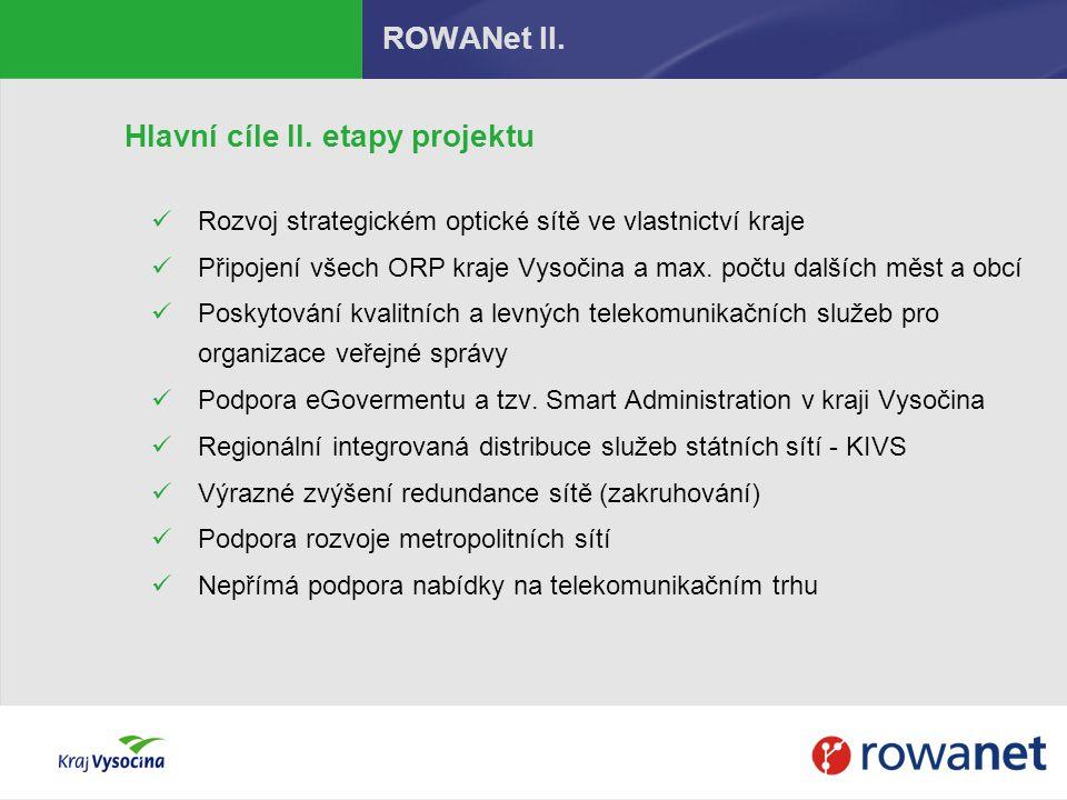 ROWANet II. Hlavní cíle II. etapy projektu Rozvoj strategickém optické sítě ve vlastnictví kraje Připojení všech ORP kraje Vysočina a max. počtu další